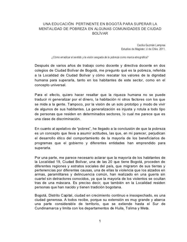 UNA EDUCACIÓN PERTINENTE EN BOGOTÁ PARA SUPERAR LA  MENTALIDAD DE POBREZA EN ALGUNAS COMUNIDADES DE CIUDAD                ...
