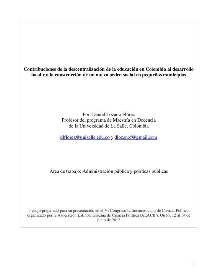 Contribuciones de la descentralización de la educación en Colombia al desarrollo   local y a la construcción de un nuevo o...