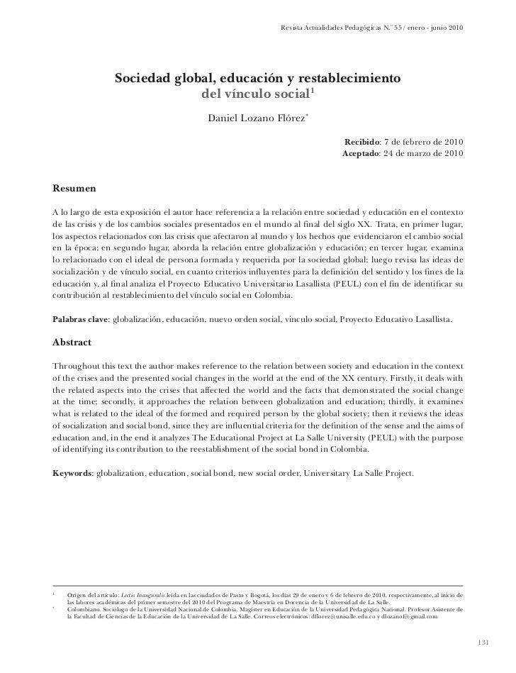 Revista Actualidades Pedagógicas N.o 55 / enero - junio 2010                          Sociedad global, educación y restabl...