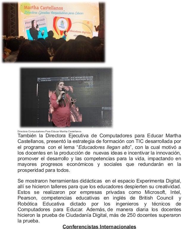 Directora Computadores Para Educar Martha CastellanosTambién la Directora Ejecutiva de Computadores para Educar MarthaCast...
