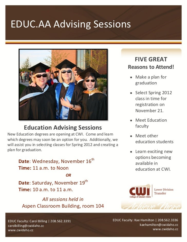 EDUC.AA Advising Sessions                                                                            FIVE GREAT           ...