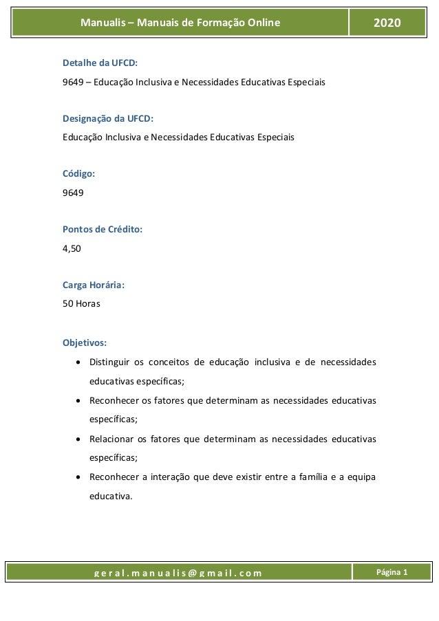 UFCD 9649 - Educação Inclusiva e Necessidades Educativas Especiais Slide 2