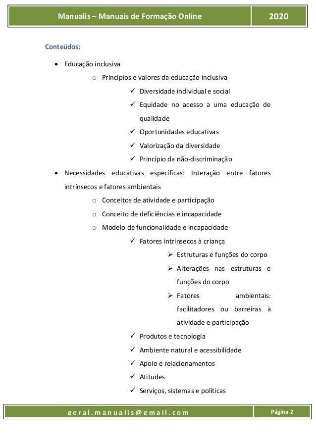 UFCD 9649 - Educação Inclusiva e Necessidades Educativas Especiais Slide 3