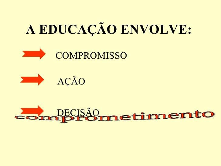 A EDUCAÇÃO ENVOLVE:   comprometimento COMPROMISSO AÇÃO DECISÃO