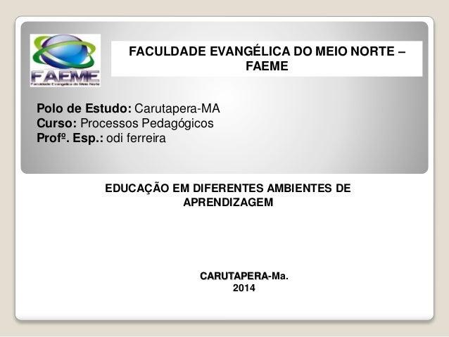 CARUTAPERA-Ma. 2014 FACULDADE EVANGÉLICA DO MEIO NORTE – FAEME Polo de Estudo: Carutapera-MA Curso: Processos Pedagógicos ...