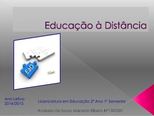 Ano Letivo  2014/2015  Licenciatura em Educação 2ª Ano 1º Semestre