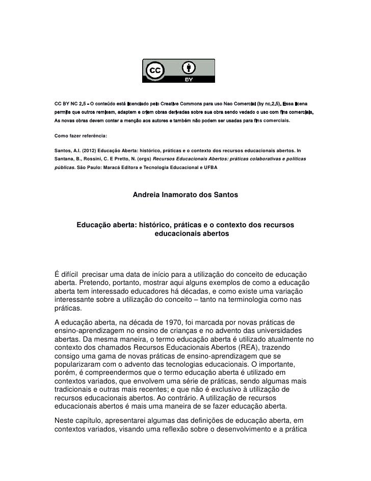 CC BY NC 2.5 - O conteúdo está licenciado pelo Creative Commons para uso Nao Comercial (by nc,2.5). Essa licenapermite que...