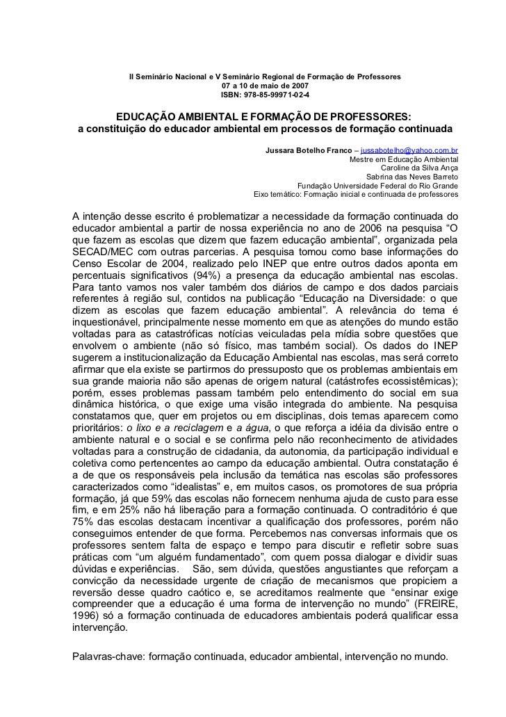 II Seminário Nacional e V Seminário Regional de Formação de Professores                                      07 a 10 de ma...