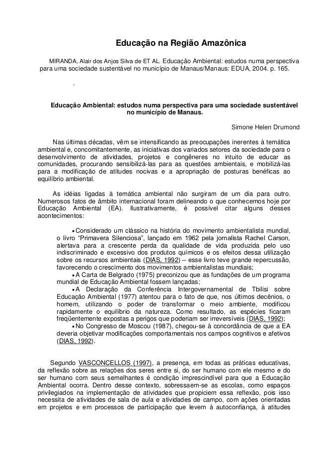 Educação na Região Amazônica MIRANDA, Alair dos Anjos Silva de ET AL. Educação Ambiental: estudos numa perspectiva  para u...