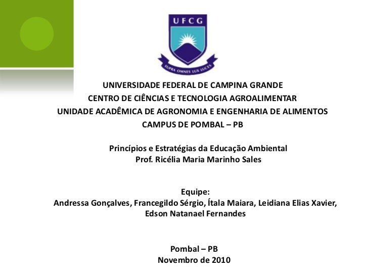 UNIVERSIDADE FEDERAL DE CAMPINA GRANDE      CENTRO DE CIÊNCIAS E TECNOLOGIA AGROALIMENTARUNIDADE ACADÊMICA DE AGRONOMIA E ...