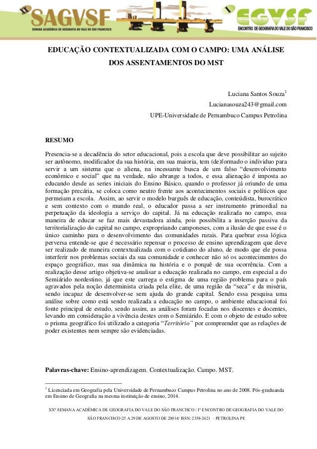 XXª SEMANA ACADÊMICA DE GEOGRAFIA DO VALE DO SÃO FRANCISCO / I° ENCONTRO DE GEOGRAFIA DO VALE DO  SÃO FRANCISCO:25 A 29 DE...