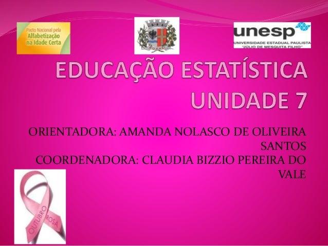 ORIENTADORA: AMANDA NOLASCO DE OLIVEIRA  SANTOS  COORDENADORA: CLAUDIA BIZZIO PEREIRA DO  VALE