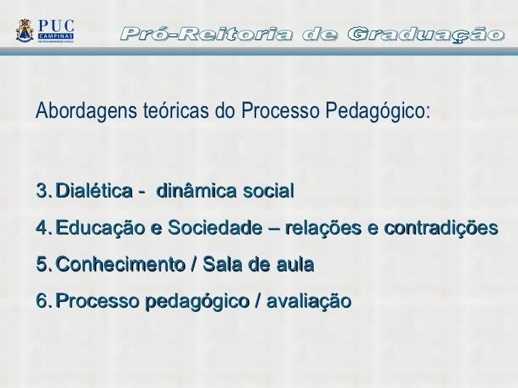 Pró-Reitoria de Graduação <ul><li>Abordagens teóricas do Processo Pedagógico : </li></ul><ul><li>Dialética -  dinâmica soc...