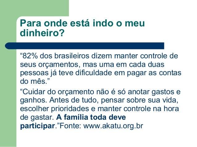 """Para onde está indo o meu dinheiro? """"82% dos brasileiros dizem manter controle de seus orçamentos, mas uma em cada duas pe..."""