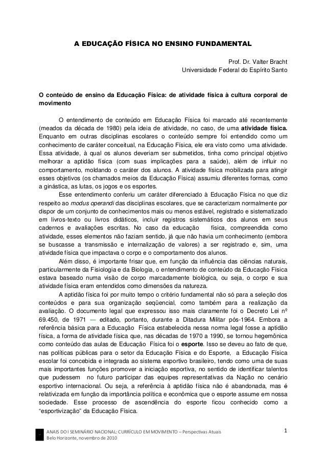 ANAIS DO I SEMINÁRIO NACIONAL: CURRÍCULO EM MOVIMENTO – Perspectivas Atuais Belo Horizonte, novembro de 2010 1 A EDUCAÇÃO ...