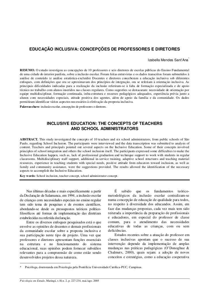 EDUCAÇÃO INCLUSIVA: CONCEPÇÕES DE PROFESSORES E DIRETORES                                                                 ...