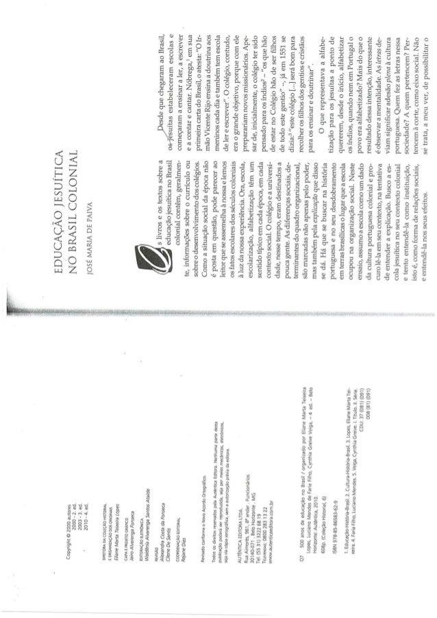 Educação jesuítica no brasi colonial