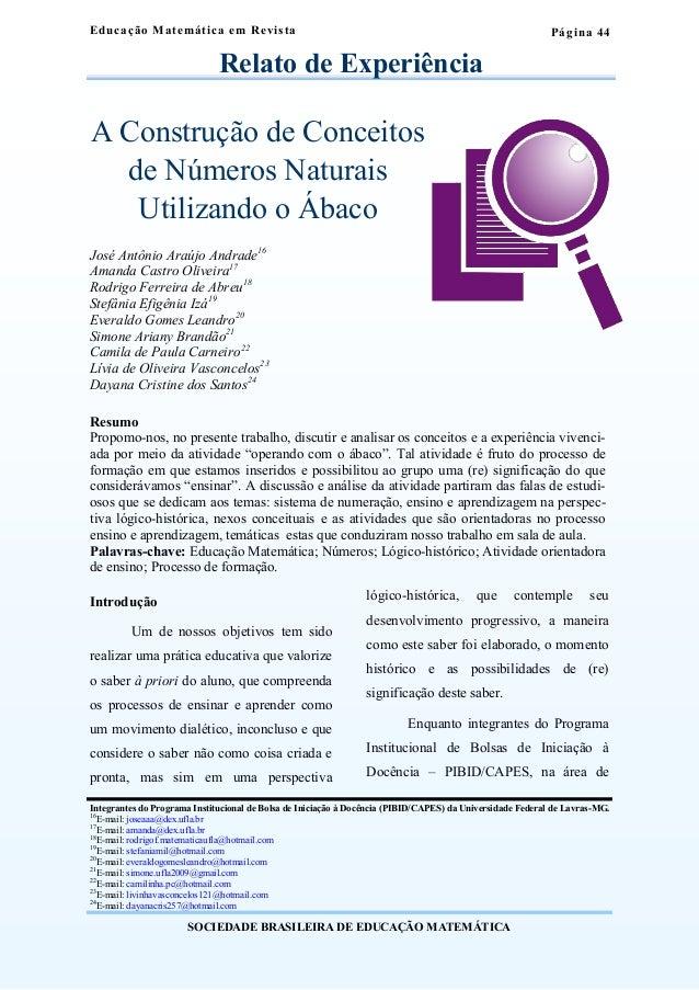 Página 44  Educação Mat emát ica em Revi s ta  Relato de Experiência  A Construção de Conceitos  de Números Naturais  Util...