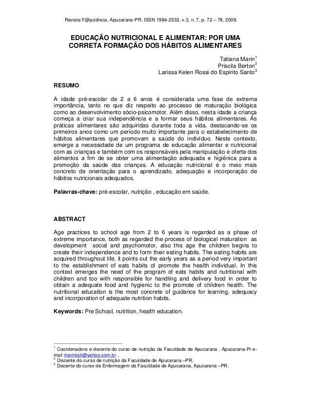Revista F@pciência, Apucarana-PR, ISSN 1984-2333, v.3, n. 7, p. 72 – 78, 2009.      EDUCAÇÃO NUTRICIONAL E ALIMENTAR: POR ...