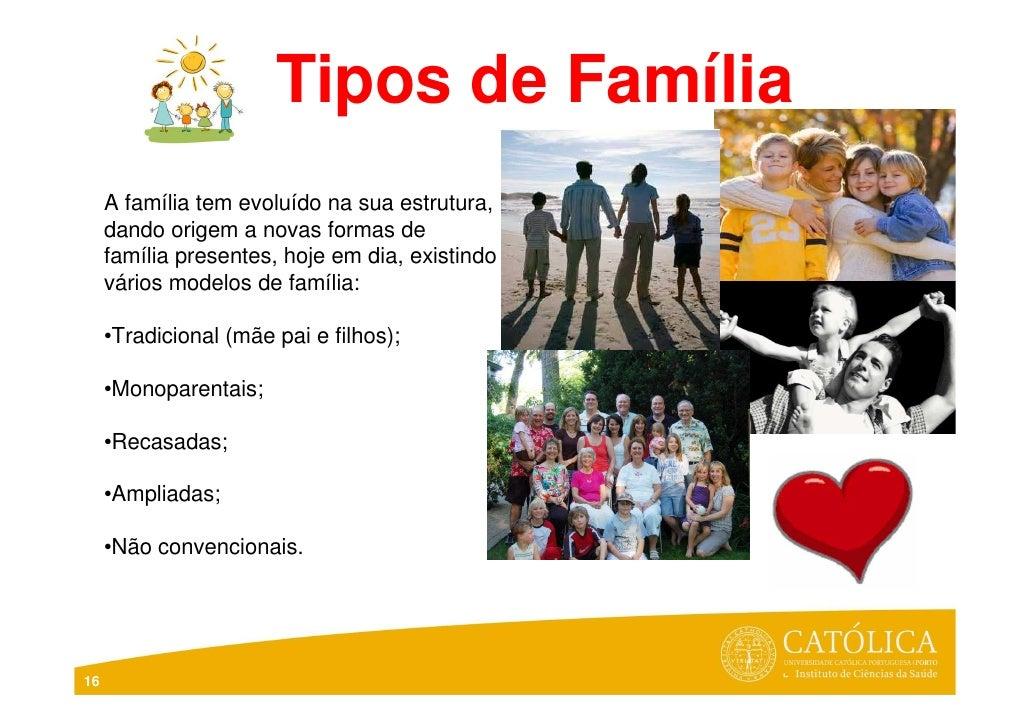 Tipos de Família     A família tem evoluído na sua estrutura,     dando origem a novas formas de     família presentes, ho...