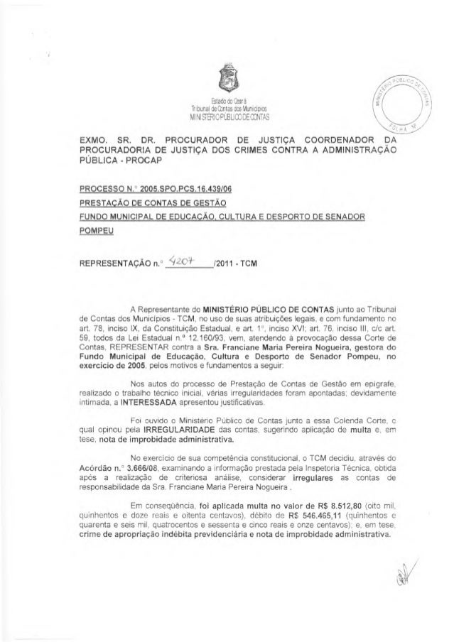 Estado do Ckará Tr: bunal de Contas das Municioics MI NI STIÉRI C PCI31.1 CO DE OCINTAS EXMO. SR. DR. PROCURADOR DE JUSTIÇ...