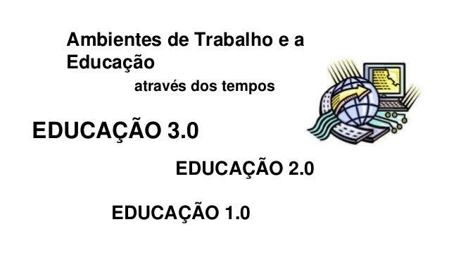 Ambientes de Trabalho e a Educação através dos tempos EDUCAÇÃO 1.0 EDUCAÇÃO 3.0 EDUCAÇÃO 2.0