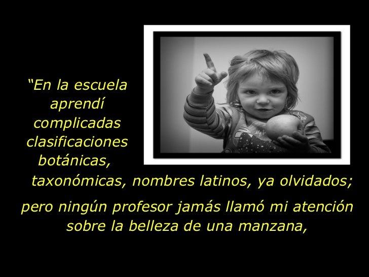 """"""" En la escuela aprendí complicadas clasificaciones botánicas,  taxonómicas, nombres latinos, ya olvidados; pero ningún pr..."""
