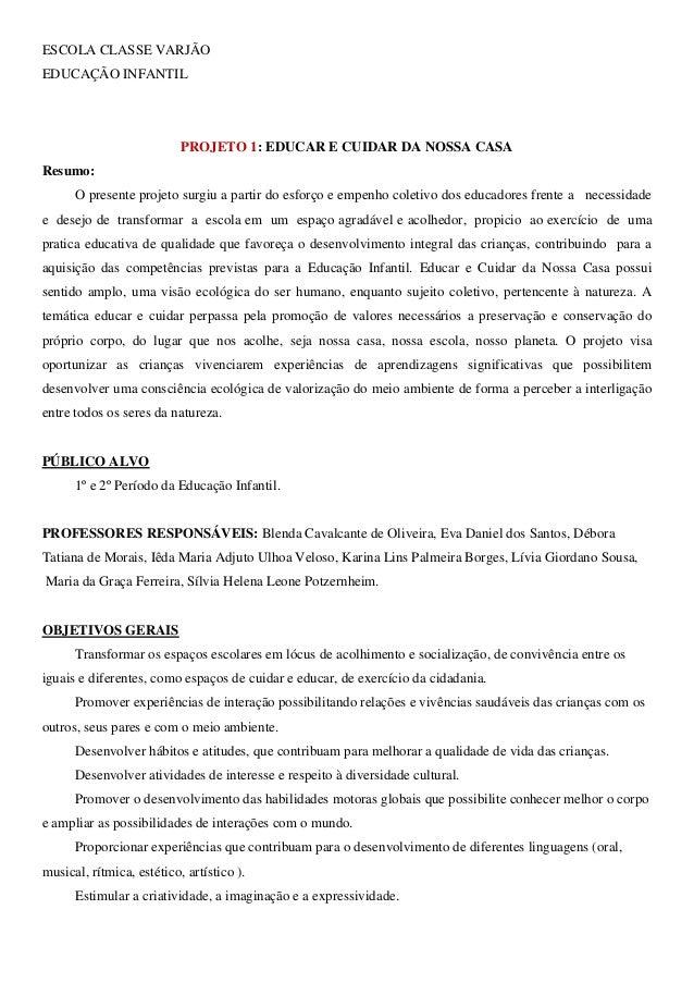 ESCOLA CLASSE VARJÃOEDUCAÇÃO INFANTIL                           PROJETO 1: EDUCAR E CUIDAR DA NOSSA CASAResumo:      O pre...