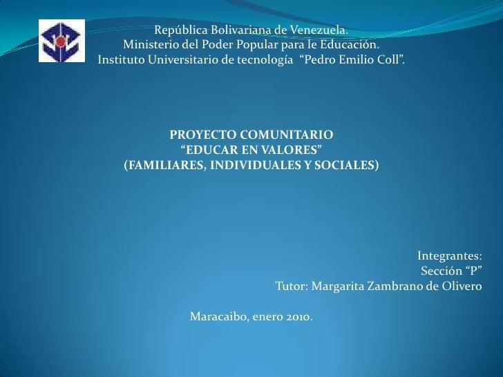 República Bolivariana de Venezuela.<br />Ministerio del Poder Popular para le Educación.<br />Instituto Universitario de t...