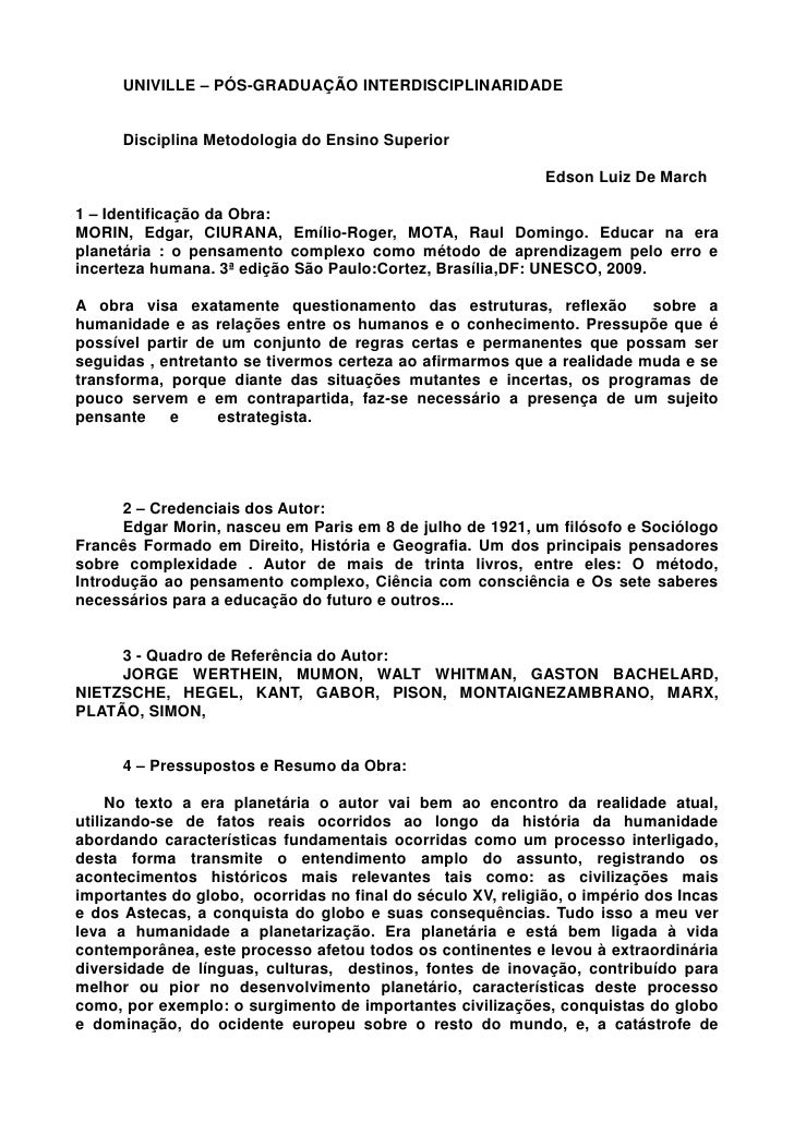 UNIVILLE – PÓS-GRADUAÇÃO INTERDISCIPLINARIDADE      Disciplina Metodologia do Ensino Superior                             ...