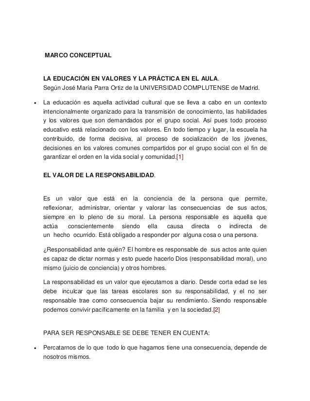 MARCO CONCEPTUAL  LA EDUCACIÓN EN VALORES Y LA PRÁCTICA EN EL AULA.  Según José María Parra Ortiz de la UNIVERSIDAD COMPLU...