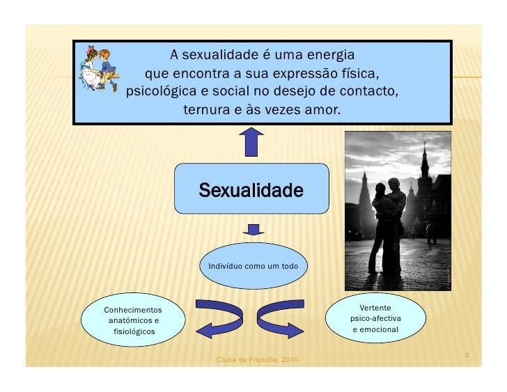A sexualidade é uma energia         que encontra a sua expressão física,      psicológica e social no desejo de contacto, ...