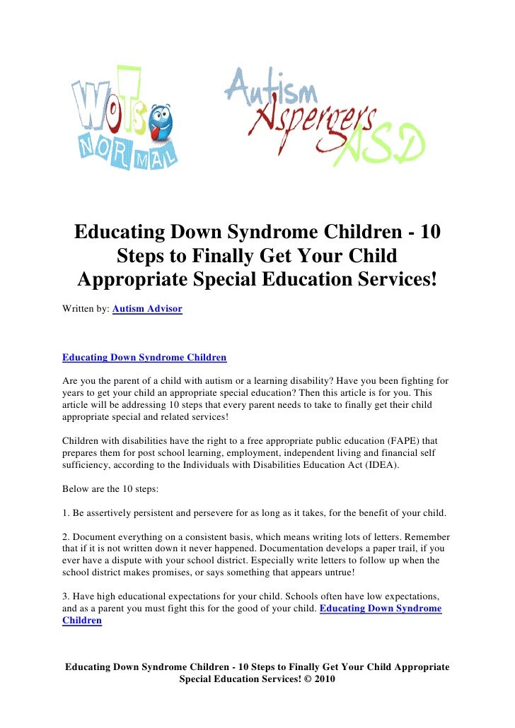 Addressing Special Needs Parents >> Educating Down Syndrome Children 10 Steps To Finally Get Your Child