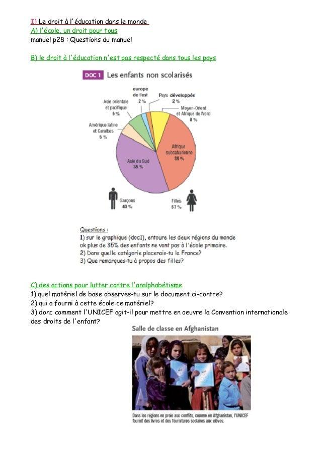 I) Le droit à l'éducation dans le monde A) l'école, un droit pour tous manuel p28 : Questions du manuel B) le droit à l'éd...