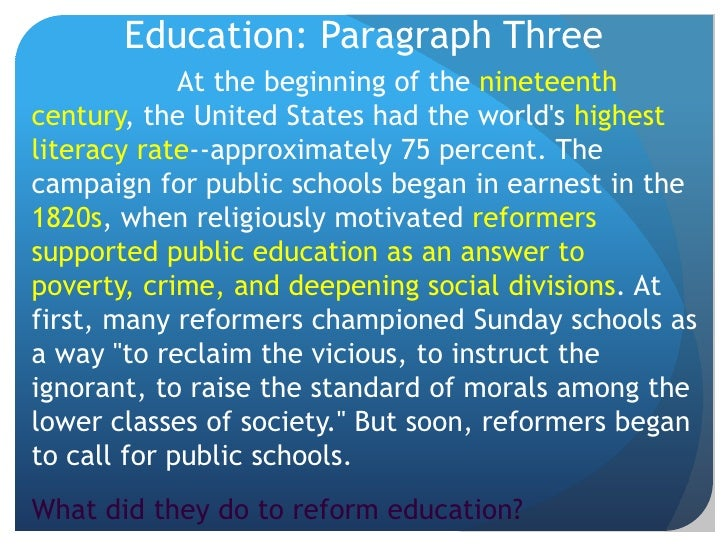 a paragraph on education