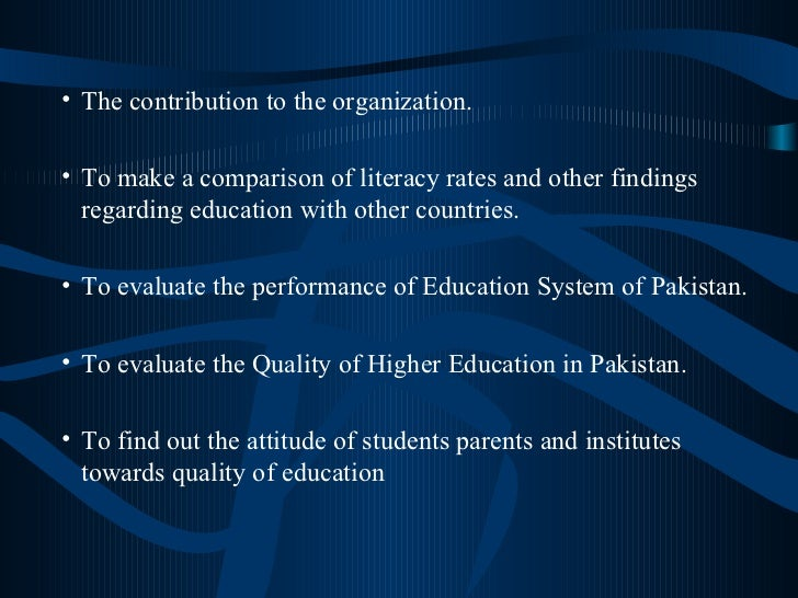 <ul><ul><ul><li>The contribution to the organization. </li></ul></ul></ul><ul><ul><ul><li>To make a comparison of literacy...