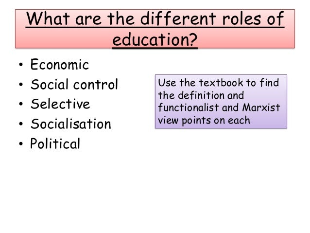 discuss the role of education in social control