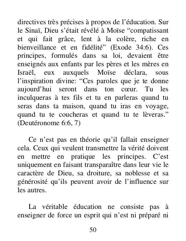 """directives très précises à propos de l'éducation. Sur le Sinaï, Dieu s'était révélé à Moïse """"compatissant et qui fait grâc..."""