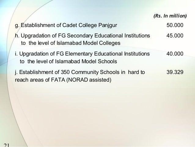 (Rs. In million)g. Establishment of Cadet College Panjgur                        50.000h. Upgradation of FG Secondary Educ...