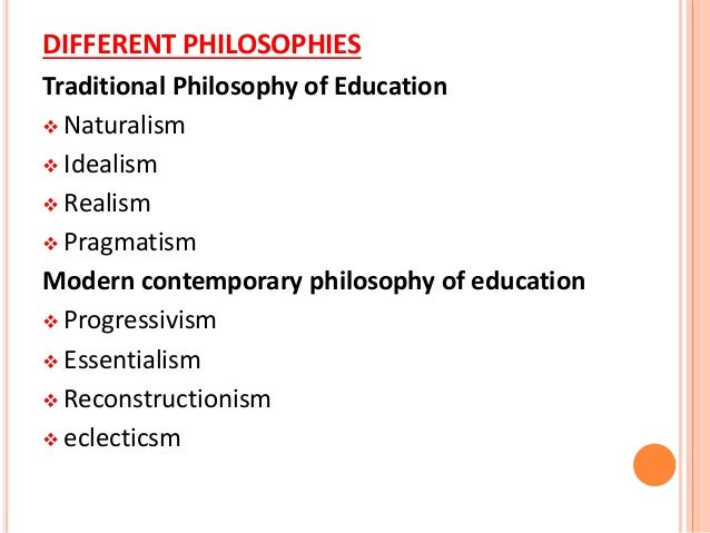 Education and the role of philosophy