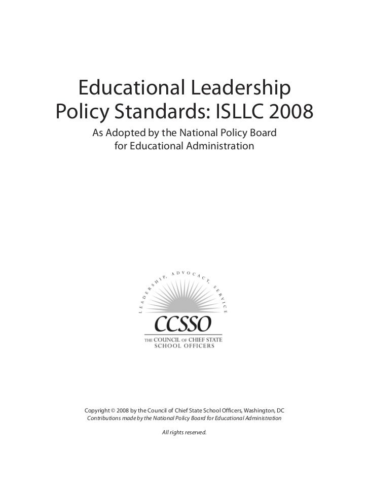 isllc stardard five In cutting edge districts 5) large urban districts putting leadership standards to  work in  the review and analysis of research for isllc/elcc: standard 5 was .