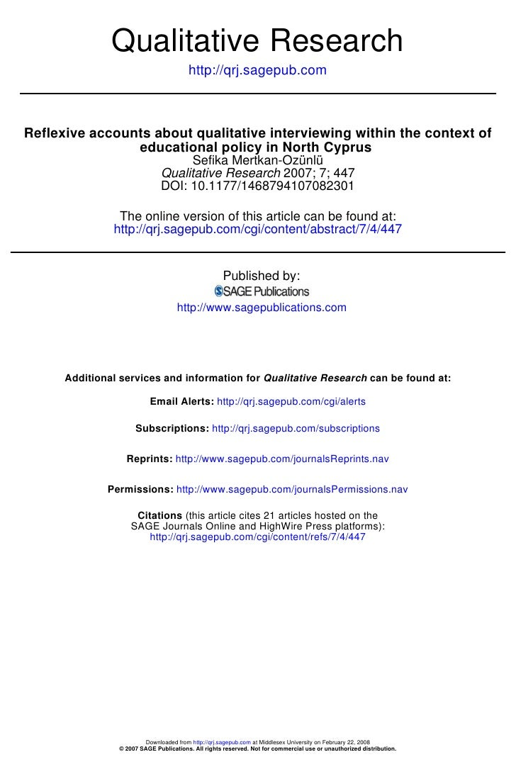 Qualitative Research                                         http://qrj.sagepub.com    Reflexive accounts about qualitativ...