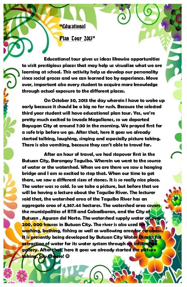 Educational Plan Tour A Narrative Report