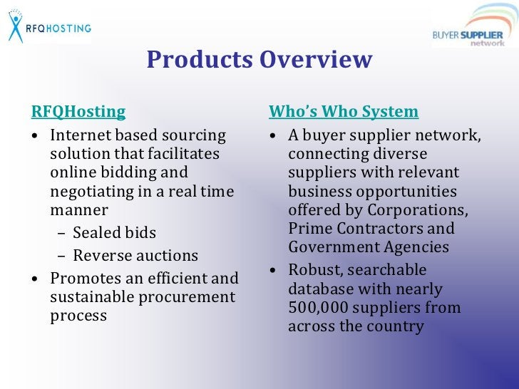 Products Overview<br />RFQHosting<br />Internet based sourcing solution that facilitates online bidding and negotiating in...