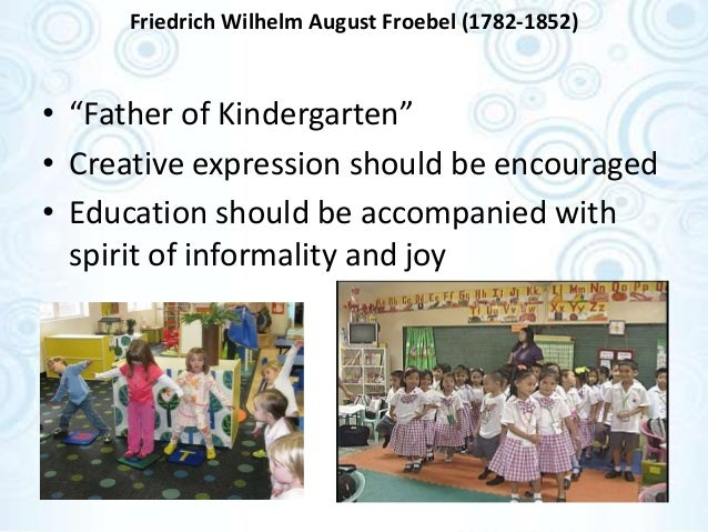 the career and educational philosophies of friedrich wilhelm august froebel a german pedagogue Democracy early childhood education early childhood education--philosophy friedrich fröbel german pedagogue froebel, friedrich wilhelm august 1782.