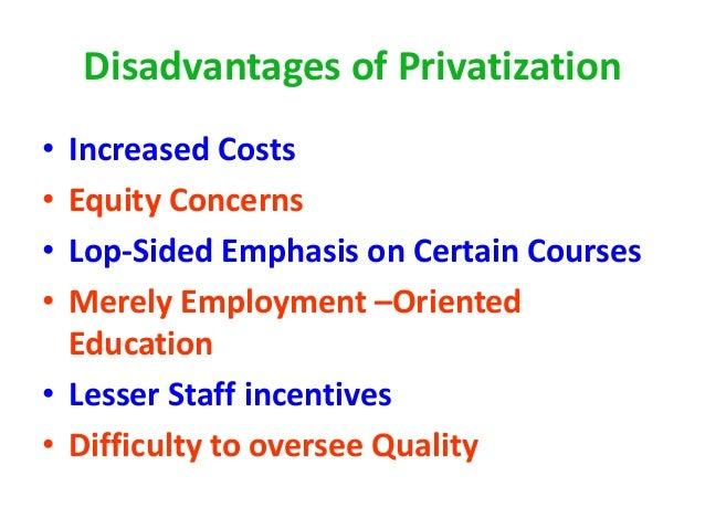 demerits of privatization of school education