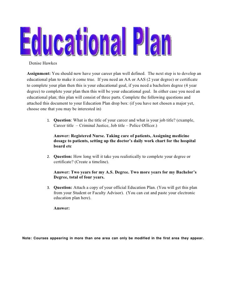 Denise Hawkes  Assignment: You should now have your career plan well defined. The next step is to develop an  educational ...