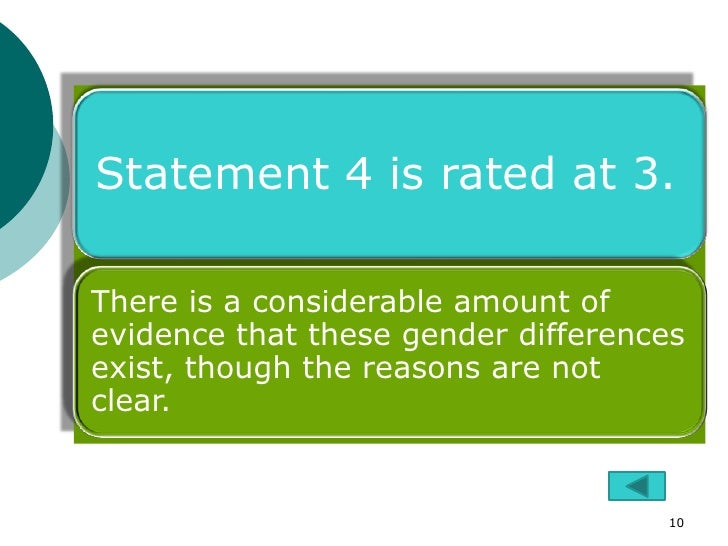 Statement 4 is rated at 3.There is a considerable amount ofevidence that these gender differencesexist, though the reasons...