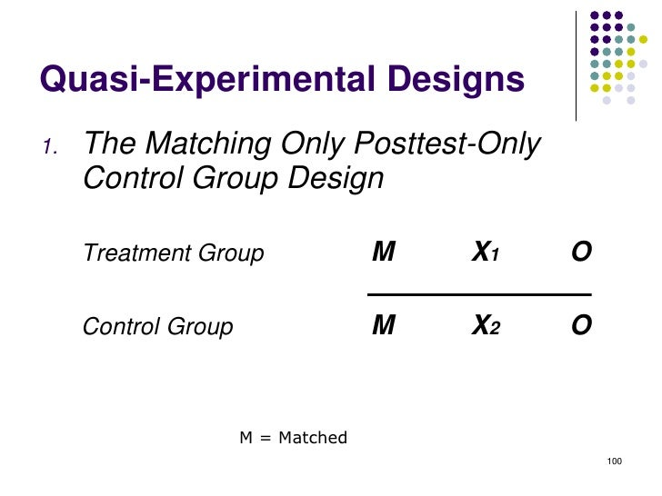 Quasi-Experimental Designs1.   The Matching Only Posttest-Only     Control Group Design     Treatment Group               ...