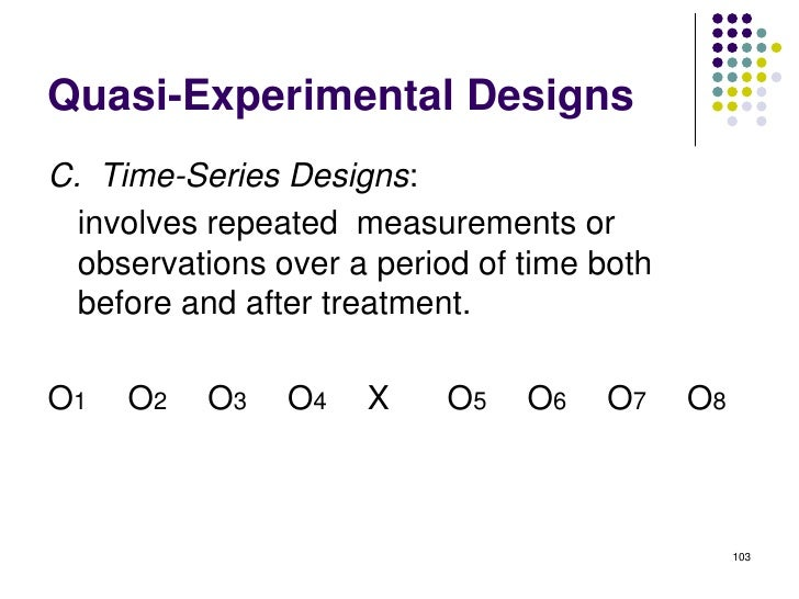 Quasi-Experimental DesignsC. Time-Series Designs:  involves repeated measurements or  observations over a period of time b...